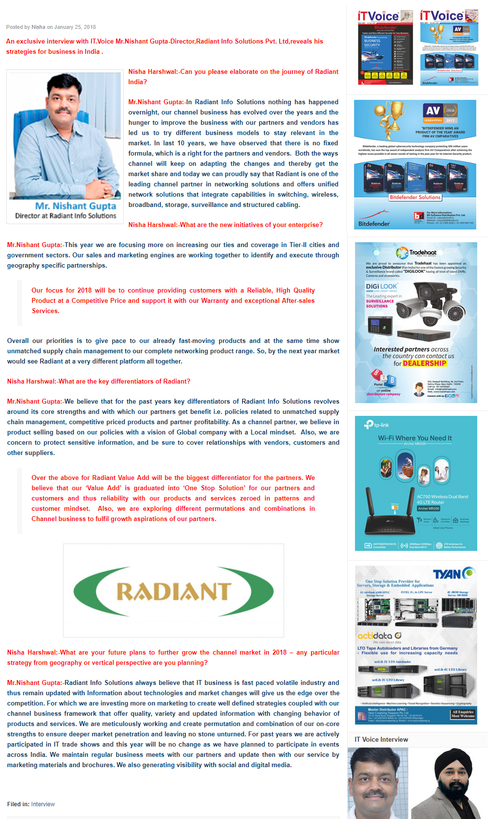 ITVoice Interview- Radiant