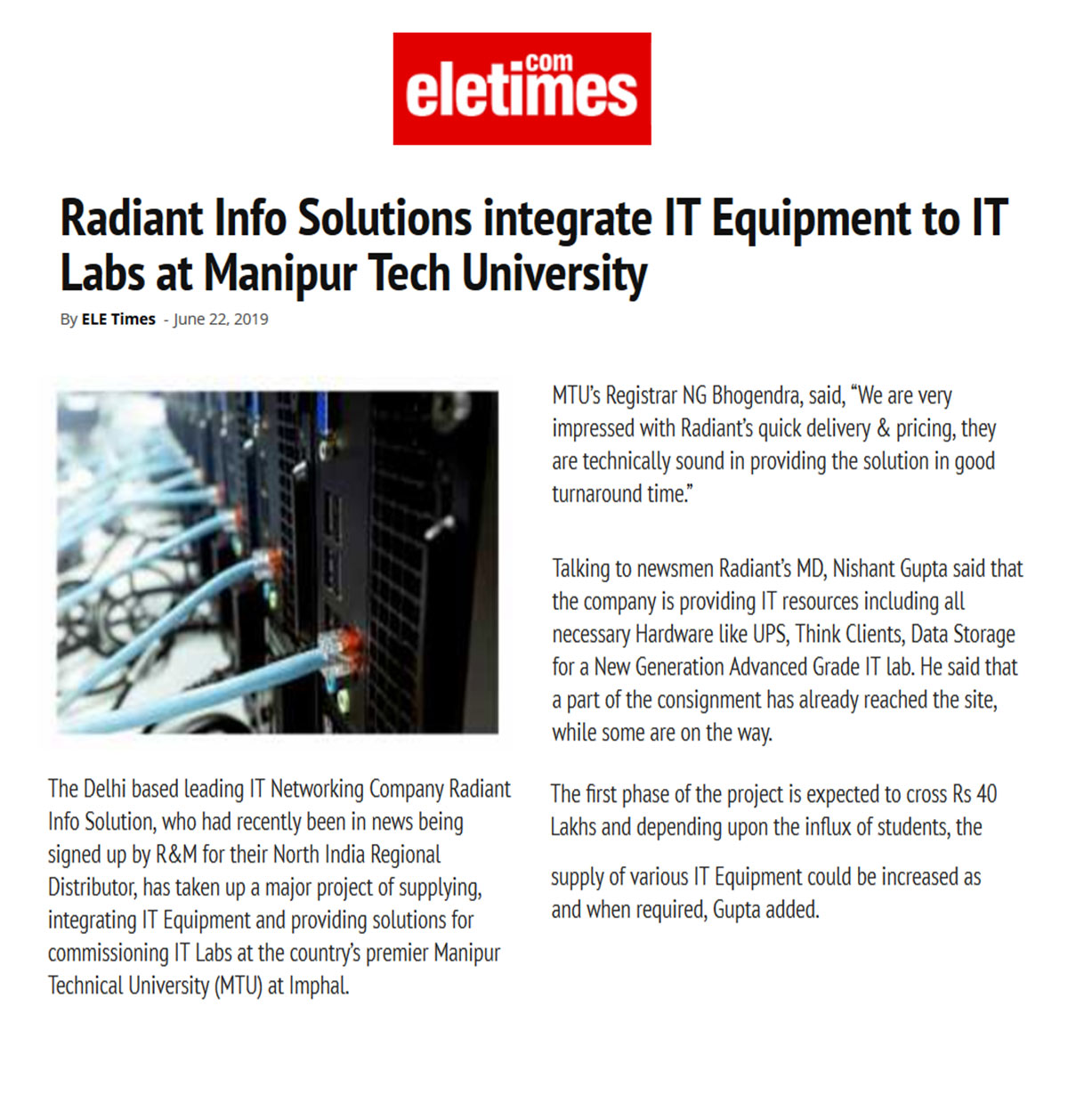Radiant Info Solutions integrate IT Equipment to IT Labs at